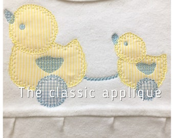 duck vintage pull toy blanket applique design file for embroidery