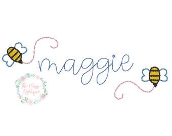 Spring bumble bee single mini fill stitch machine embroidery design file