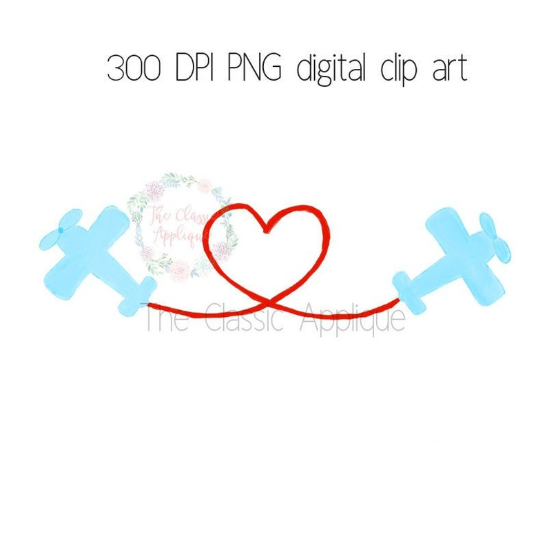 Valentine/'s Day boy airplanes flying heart watercolor PNG printable digital clip art file for sublimation HTV and more paper goods
