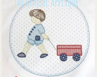 little boy with wagon vintage stitch and sketch fill embroidery design file