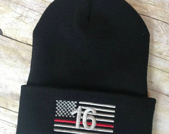 Thin red line number flag beanie 9306fc91b08f