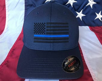 96647e44432c14 Free personalization, Men's Thin blue line police officer blacked American  flag hat, police cap, custom police officer embroidered navy hat