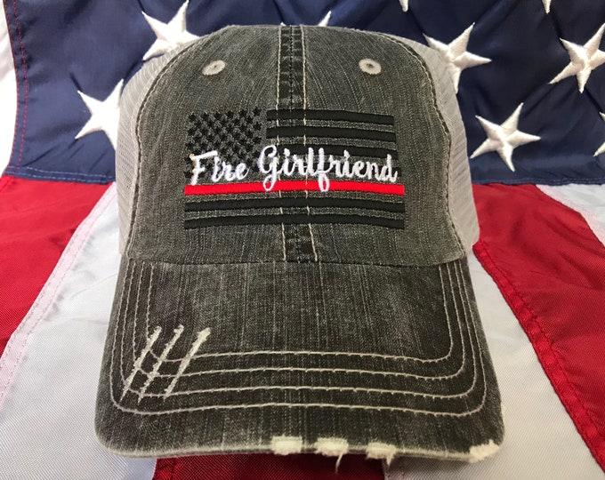 e783e4fd269 Ladies Thin red line Fire fighter girlfriend American flag, Fire girlfriend  distressed trucker hat,