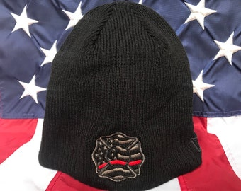 Unisex 3D Knitted Hat Skull Hat Beanie Cap American Flag Firefighter Distressed Red Line