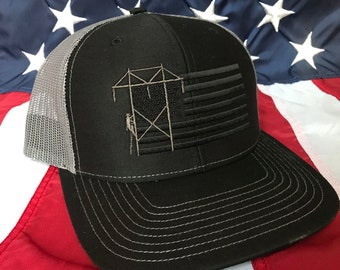 d9d43a11867 Any colors Lineman American blacked out flag embroidered hat, transmission  lineman flag hat, lineman baseball cap