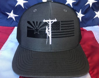 2a83950af71 Any colors Lineman Arizona flag, American flag embroidered hat,  distribution lineman flag hat, lineman baseball cap