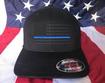 USA Flag hat POLICE THIN BLUE LINE SUPPORT LAW ENFORCEMENT Baseball cap Black