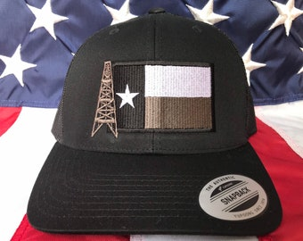 best sneakers a3dbb 1a8dd Texas oilfield flag embroidered hat, oil rig baseball cap, roughneck hat,  custom baseball cap, black and white texas flag