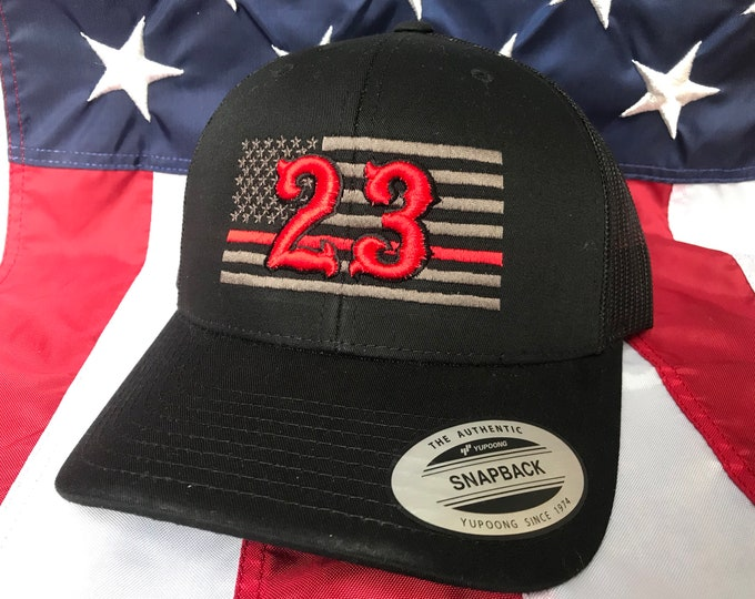 5b536cfc Free personalization Thin red line Fire fighter 3D number charcoal grey  American flag hat, fire
