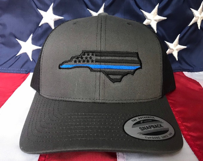 82138f2a9fd187 Any colors, Thin blue line american flag state of NC police officer  embroidered cap,