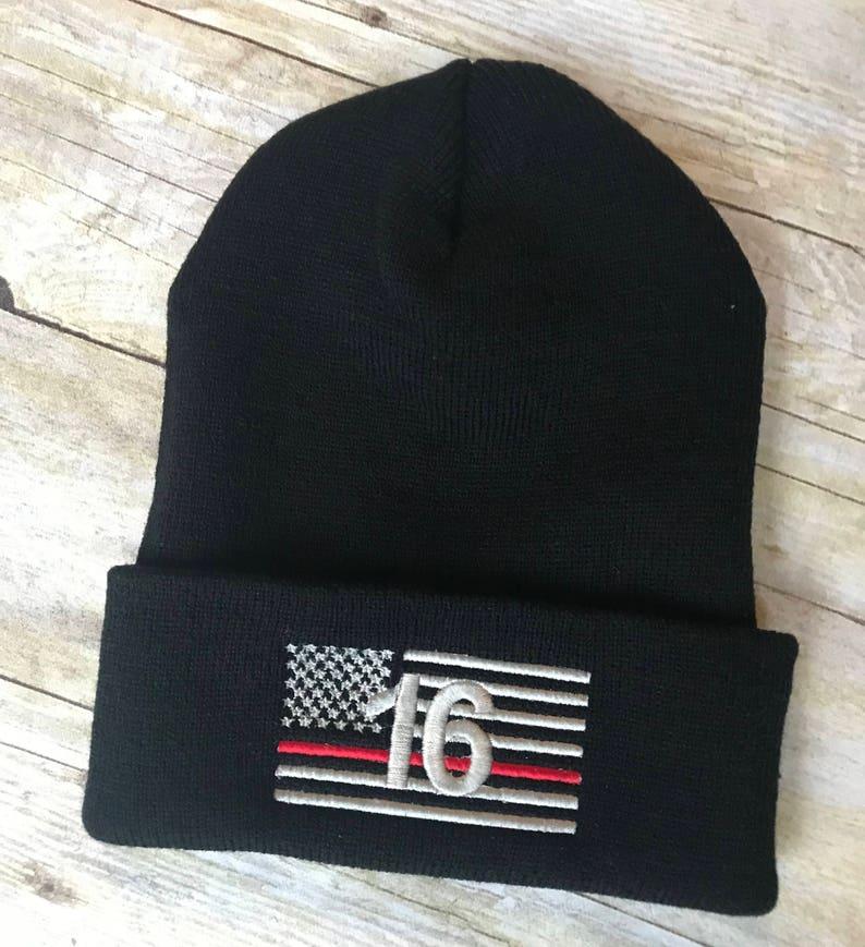 2873a262eae Thin red line number flag beanie firefighter skull cap navy
