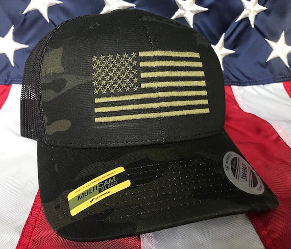 e9e8c7c1d Black multicam olive drab American flag hat, flag baseball cap, snapback  hat, fitted cap, flex fit hat, american flag