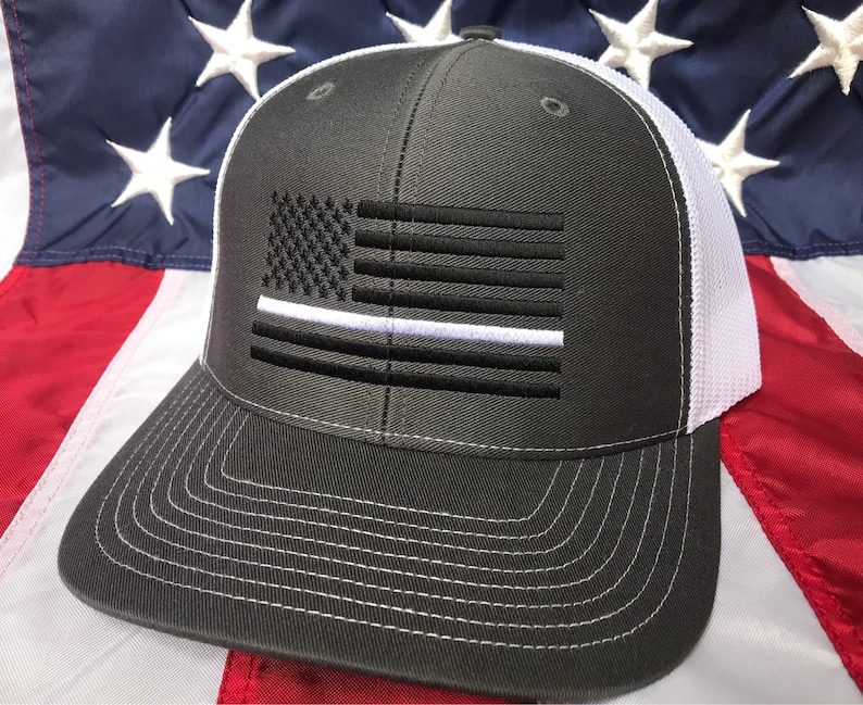 17d27a42 Free personalization Thin white line hat American flag hat | Etsy