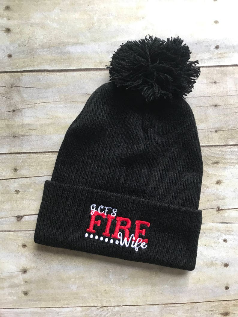 d719a18cb Custon Fire Wife beanie, fire cap, Firefighter embroidered red line skull  cap beanie with pom pom