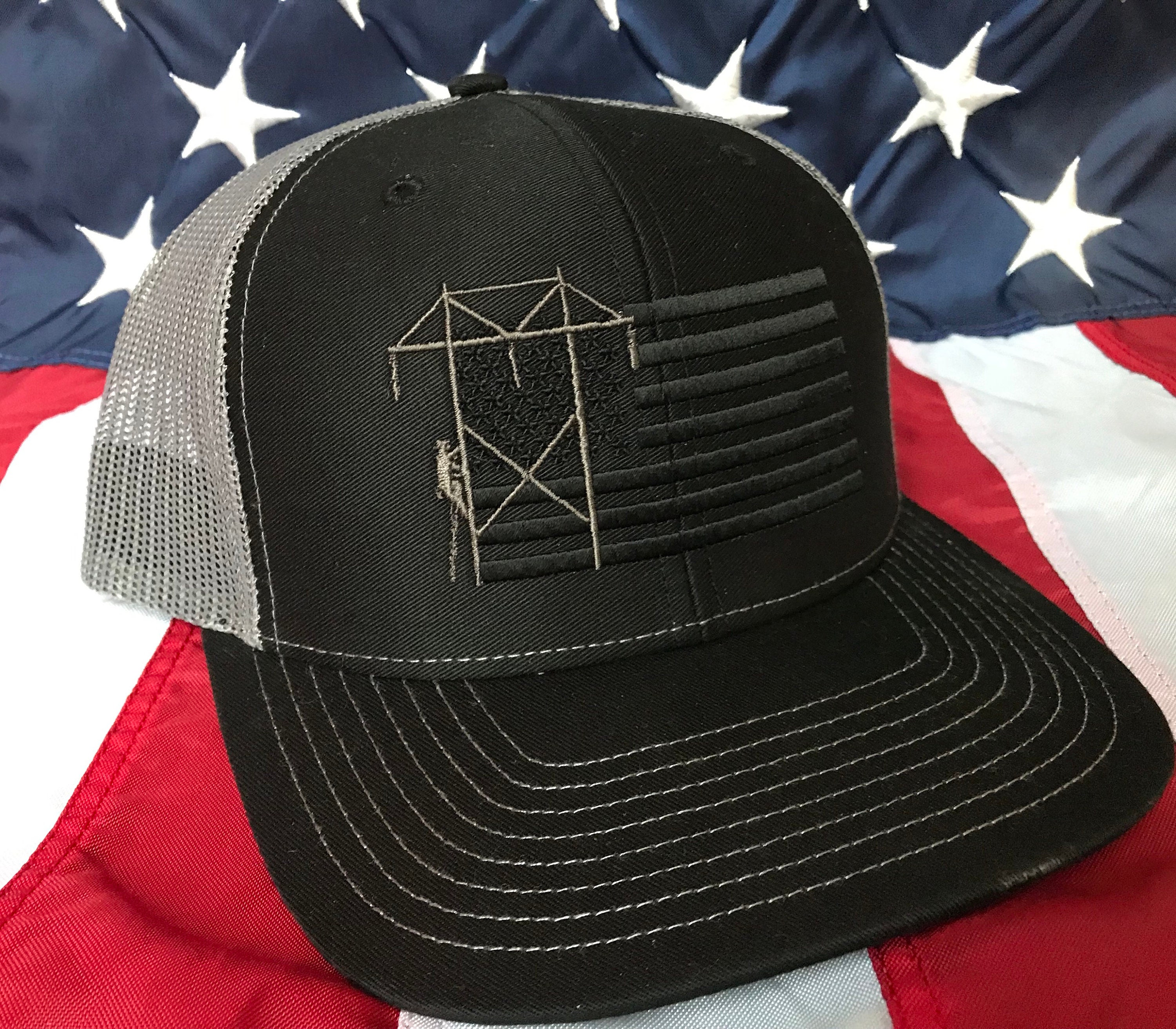 Any Colors Lineman American Blacked Out Flag Embroidered Hat Transmission Lineman Flag Hat Lineman Baseball Cap