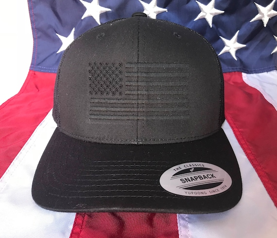 Free personalization blacked out American flag hat fire cap  3f69bc2c2af