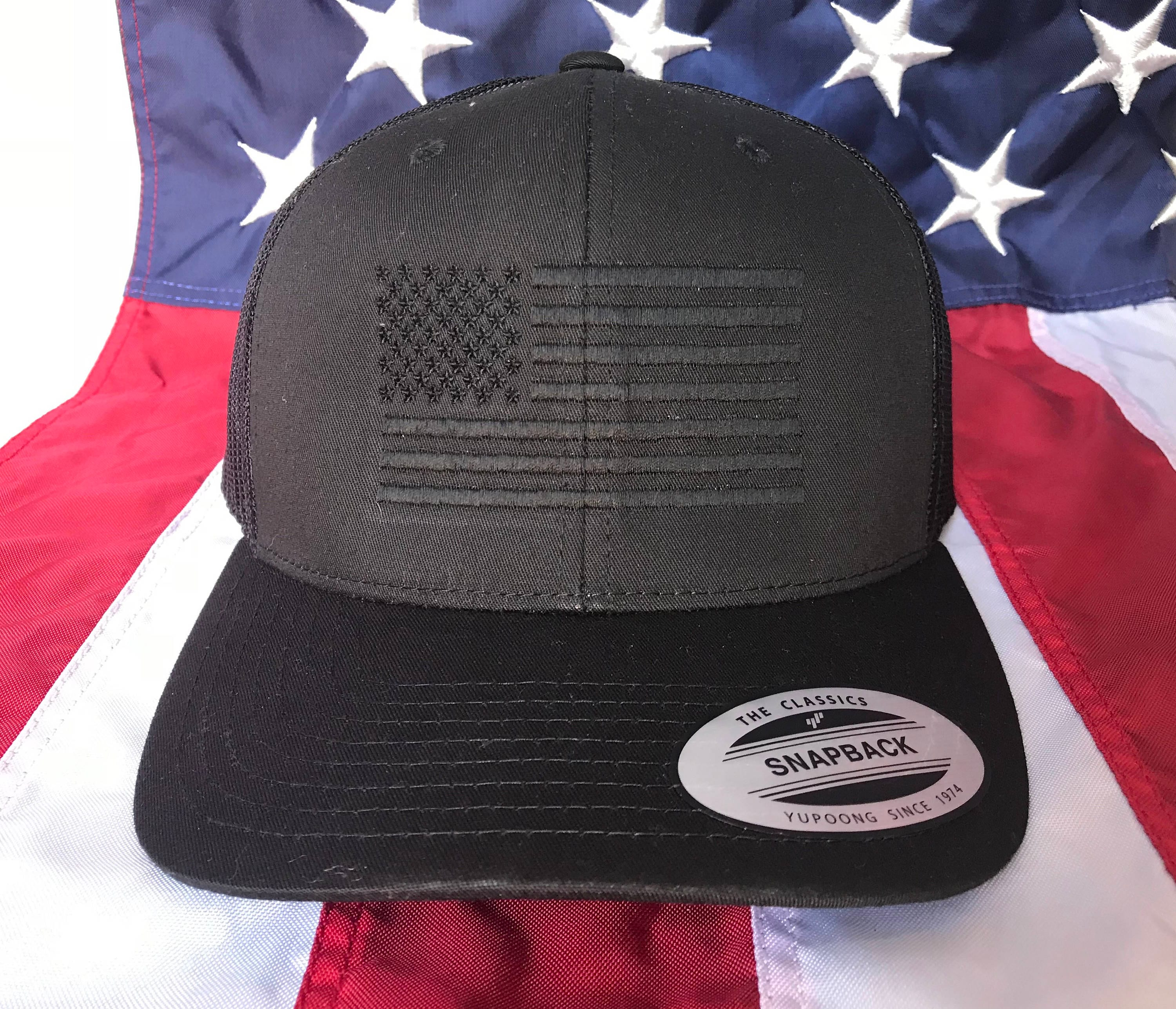 c5564d01 ... new zealand free personalization blacked out american flag hat fire cap  flag baseball cap snapback hat