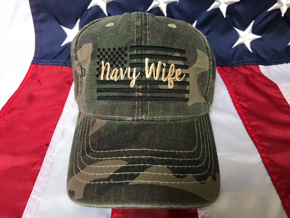 Any colors Ladies Navy wife American flag Wife camo hat  5f4f85d717f