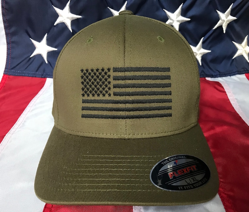 Free personalization black American flag Olive green hat  59f17504cd2
