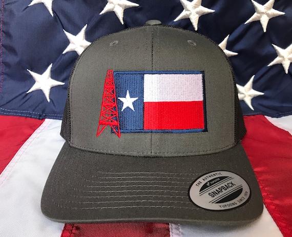 Texas oilfield flag embroidered hat oil rig baseball cap  89a92e9e6a5