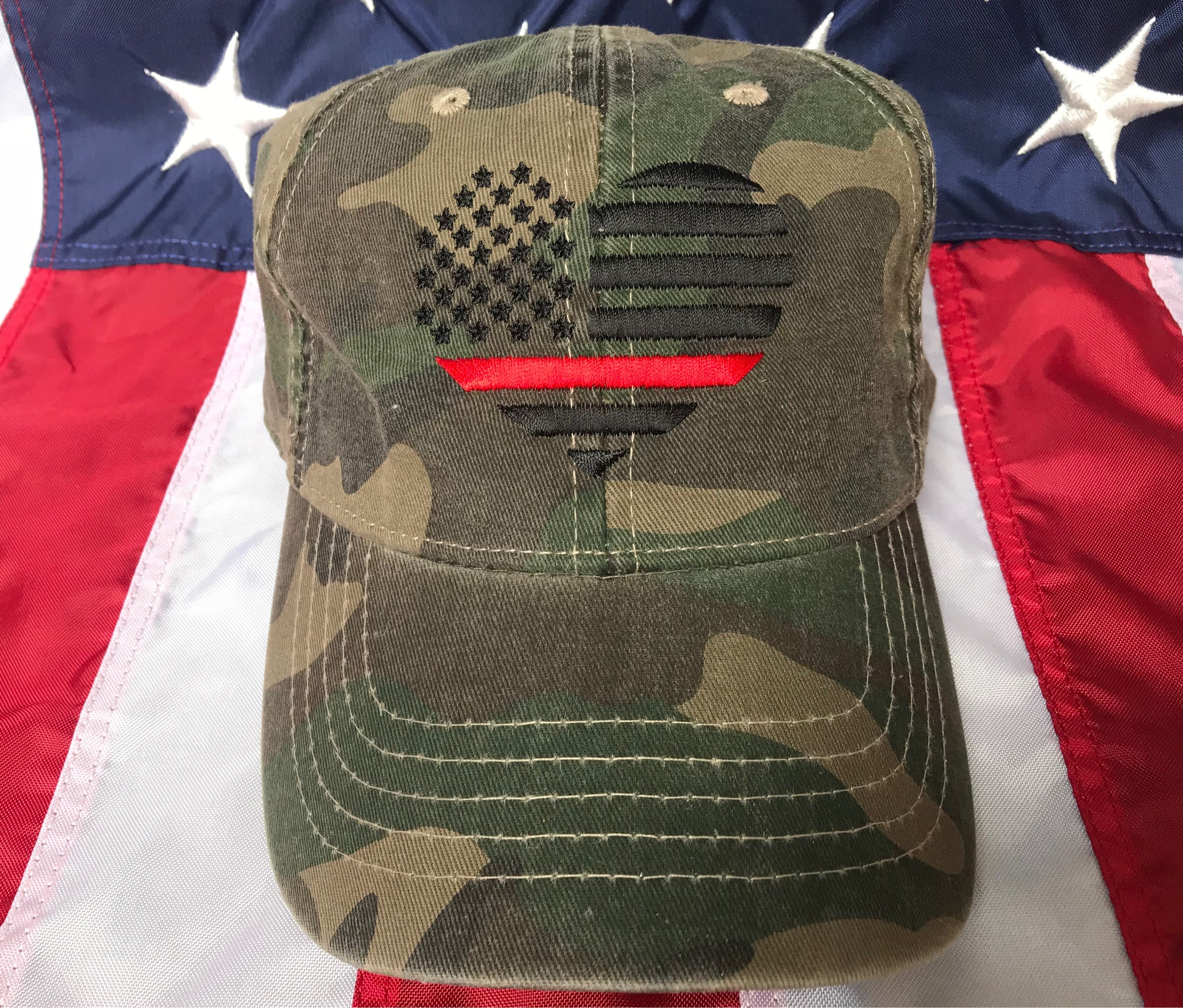 Ladies Thin red line American flag heart hat e6dceadc9a2