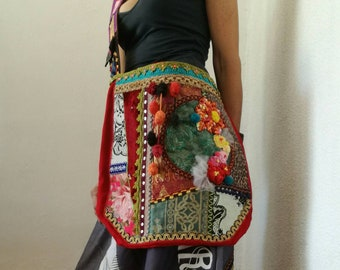 Boho chic tote bag. OOAK hippie cool huge bag