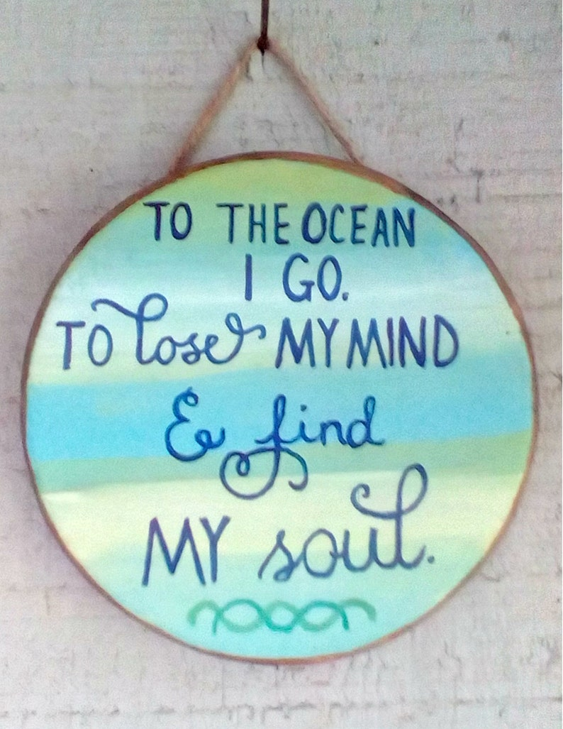 Beach Quotes Painted Wood Sayings Ocean And Sea Plaques Etsy