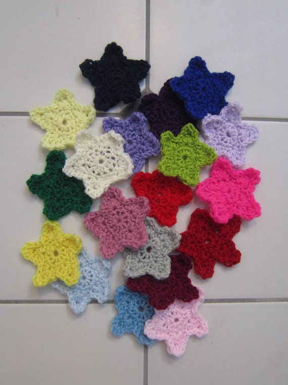 Crochet Stars Applique Stars Star Decoration Embellishment Etsy