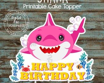 Baby Shark Cake Topper Etsy