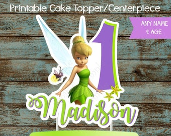 Tinkerbell Cake Topper, Tinkerbell Printable Centerpiece, Tinkerbell Birthday Party Decorations, Tinkerbell Centerpieces, Tinkerbell Cake