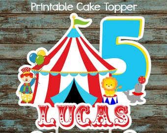 Printable Circus Cake Topper Centerpiece Birthday Party Decorations Carnival Centerpieces