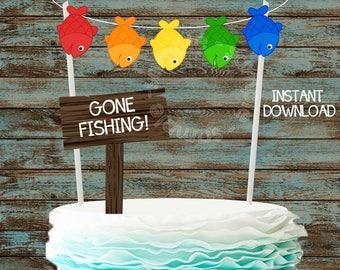 Printable Fishing Cake topper, Gone Fishing Party Cake Topper, Fishing Party Decorations, Gone Fishing DIY Cake Bunting, Fishing Birthday