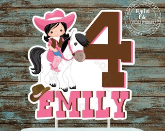 Cowgirl Printable Cake Topper Centerpiece Birthday Party Decorations Supplies