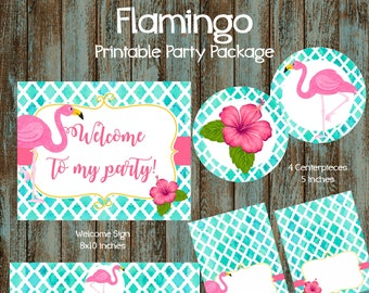Flamingo Party Package, Flamingo Printable Party Decorations, Flamingo Party Supplies, Flamingo Centerpieces, Flamingo Cupcake Toppers