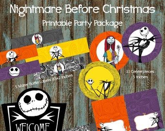 nightmare before christmas party package nightmare before christmas printable party nightmare before christmas baby shower party printable