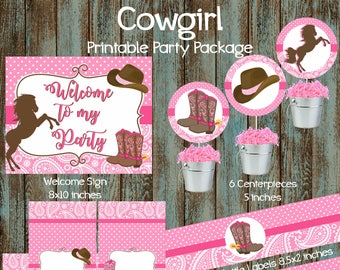 Cowgirl Party Package Birthday Supplies Printable Decorations Western