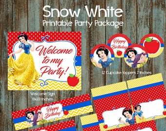 Snow White Party Package, Snow White Birthday Party, Snow White Party supplies, Snow White Printable Decorations, Snow White Package