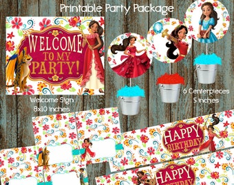Elena of Avalor Party Package, Elena of Avalor Printable Decorations, Elena of Avalor Party Supplies, Elena of Avalor Centerpieces