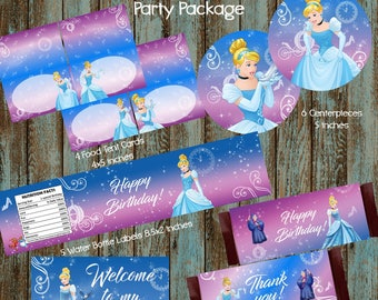 Cinderella Party Package, Cinderella Party Decorations, Princess Cinderella Birthday Party, Cinderella Centerpieces, Cinderella Water Labels