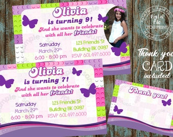Girl Building Blocks Invitation Birthday Party Printable Thank You Card