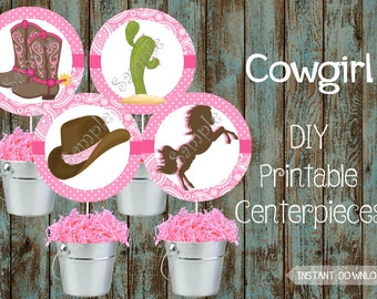 Printable Cowgirl Centerpieces Party Decorations Birthday Supplies Baby Shower