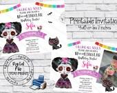 Printable Day of The Dead Invitation, Sugar Skull Invites, Day of The Dead Birthday Invites, Dia de los Muertos Invitation, Halloween Invite