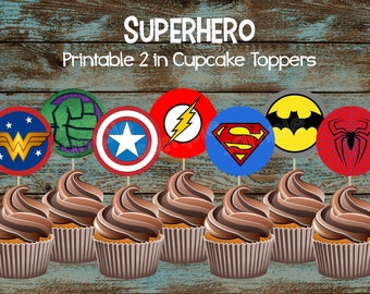 Superhero Cupcake Toppers Party Supplies Cake Topper Birthday Decorations