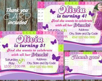 Girl Building Blocks Invitation Birthday Party Printable Thank You Card