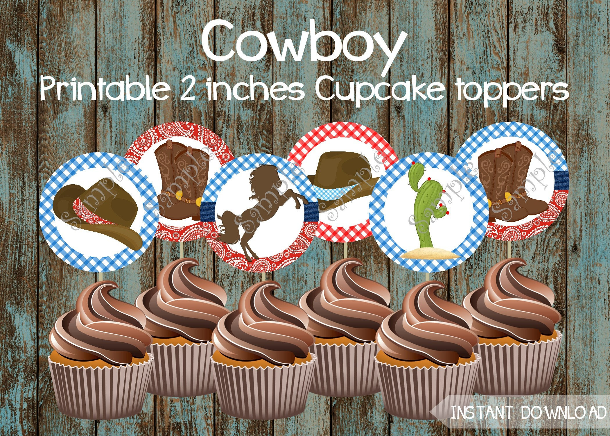 Cowboy Cupcake Toppers Cowboy Printable Cupcake Toppers