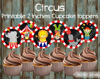 Circus Cupcake Toppers Theme Birthday Printable Party Supplies Cake Topper