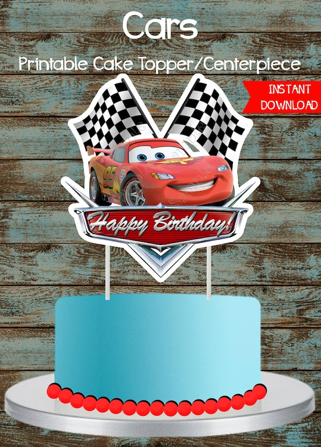 Cars Cake Topper Disney Printable Lighting Mcqueen Party Decorations Centerpieces 3 Birthday