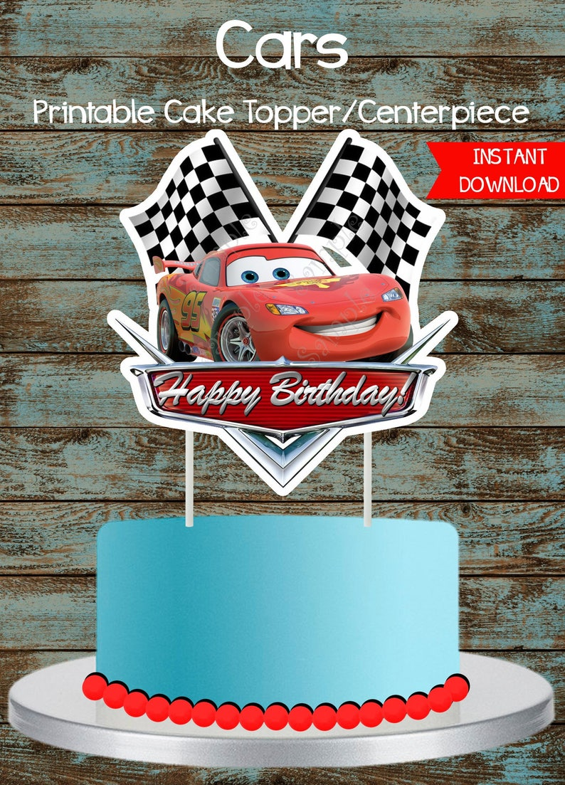 Cars Cake Topper Disney Cars Printable Cake Topper