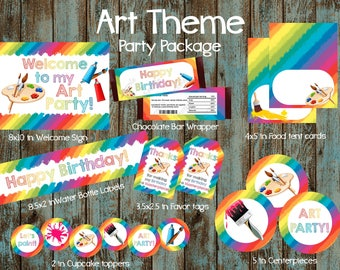 Art Party Package, Art Birthday, Art Party Supplies, Art Printable Decorations, Art Paint Party, Paint Party Package, Art Birhday party