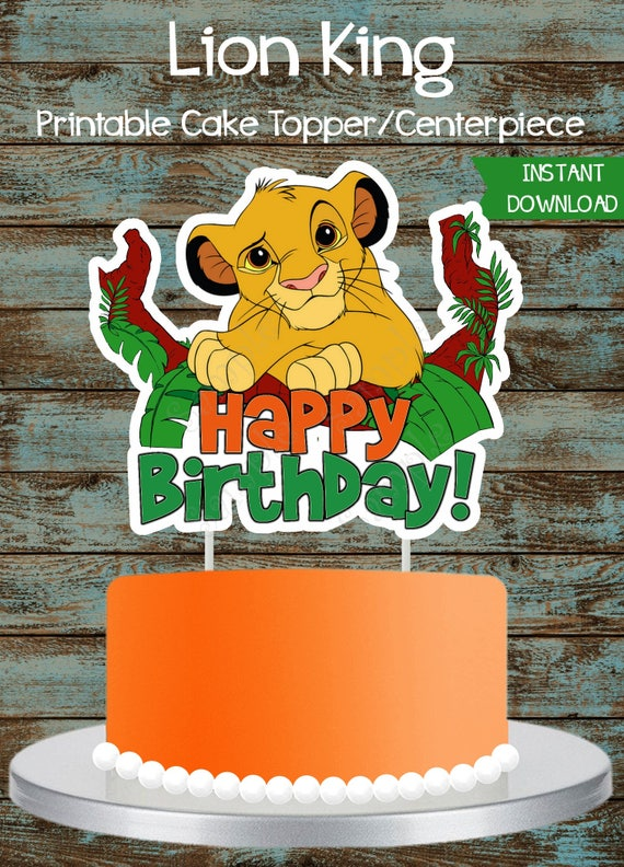 Groovy Lion King Cake Topper Lion King Printable Cake Topper Lion Etsy Funny Birthday Cards Online Fluifree Goldxyz